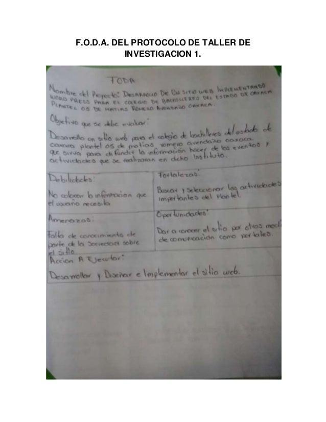 F.O.D.A. DEL PROTOCOLO DE TALLER DE INVESTIGACION 1.