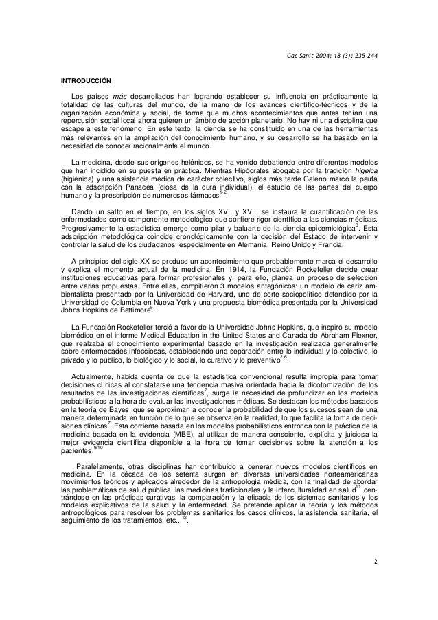 Gac Sanit 2004; 18 (3): 235-244 2 INTRODUCCIÓN Los países más desarrollados han logrando establecer su influencia en práct...