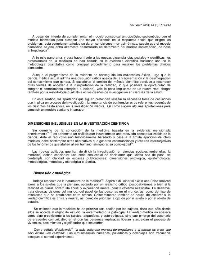 Gac Sanit 2004; 18 (3): 235-244 3 A pesar del intento de complementar el modelo conceptual antropológico-sociomédico con e...