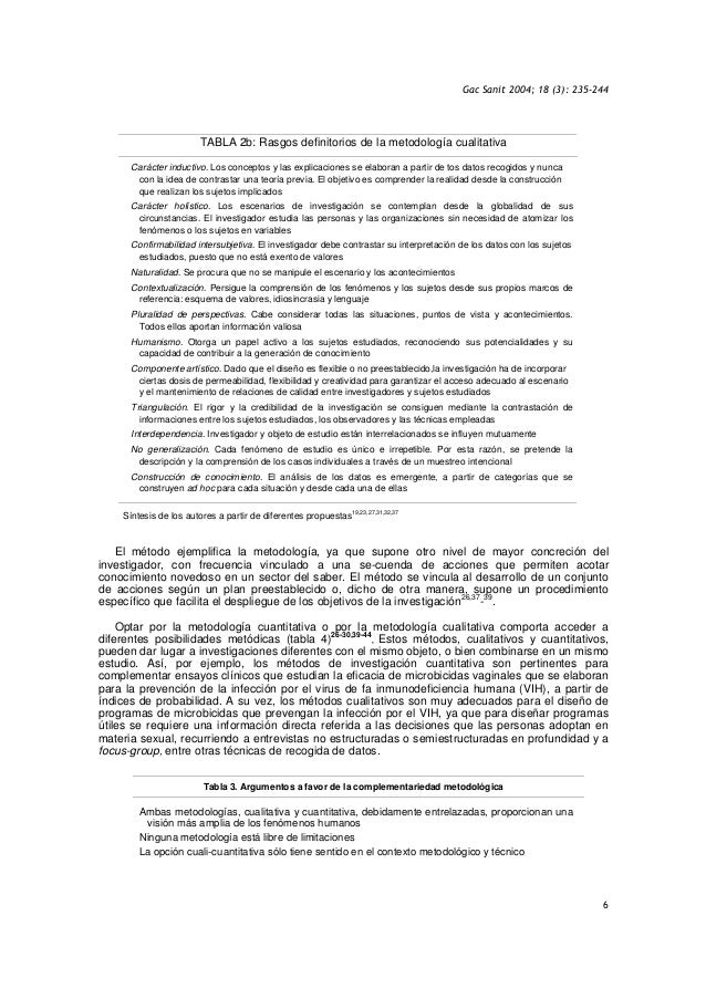 Gac Sanit 2004; 18 (3): 235-244 6 TABLA 2b: Rasgos definitorios de la metodología cualitativa Carácter inductivo. Los conc...