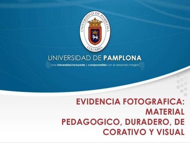 EVIDENCIA FOTOGRAFICA:MATERIALPEDAGOGICO, DURADERO, DECORATIVO Y VISUAL
