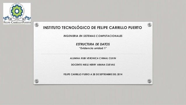 """INSTITUTO TECNOLÓGICO DE FELIPE CARRILLO PUERTO  INGENIERIA EN SISTEMAS COMPUTACIONALES  ESTRUCTURA DE DATOS  """"Evidencia u..."""