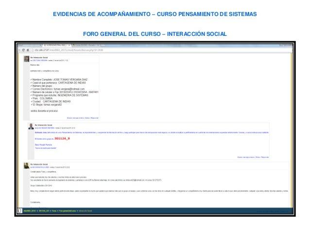 EVIDENCIAS DE ACOMPAÑAMIENTO – CURSO PENSAMIENTO DE SISTEMAS FORO GENERAL DEL CURSO – INTERACCIÓN SOCIAL