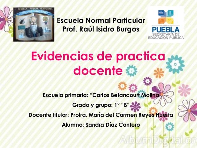 """Escuela Normal Particular Prof. Raúl Isidro Burgos Evidencias de practica docente Escuela primaria: """"Carlos Betancourt Mol..."""