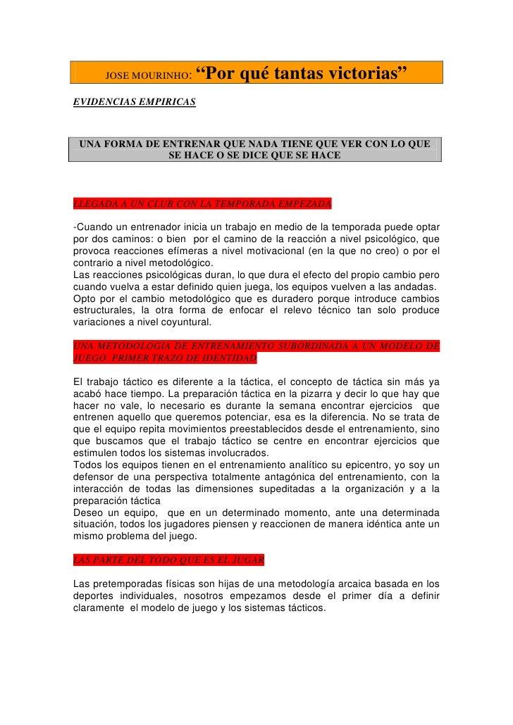 """JOSE MOURINHO:      """"Por qué tantas victorias"""" EVIDENCIAS EMPIRICAS     UNA FORMA DE ENTRENAR QUE NADA TIENE QUE VER CON L..."""