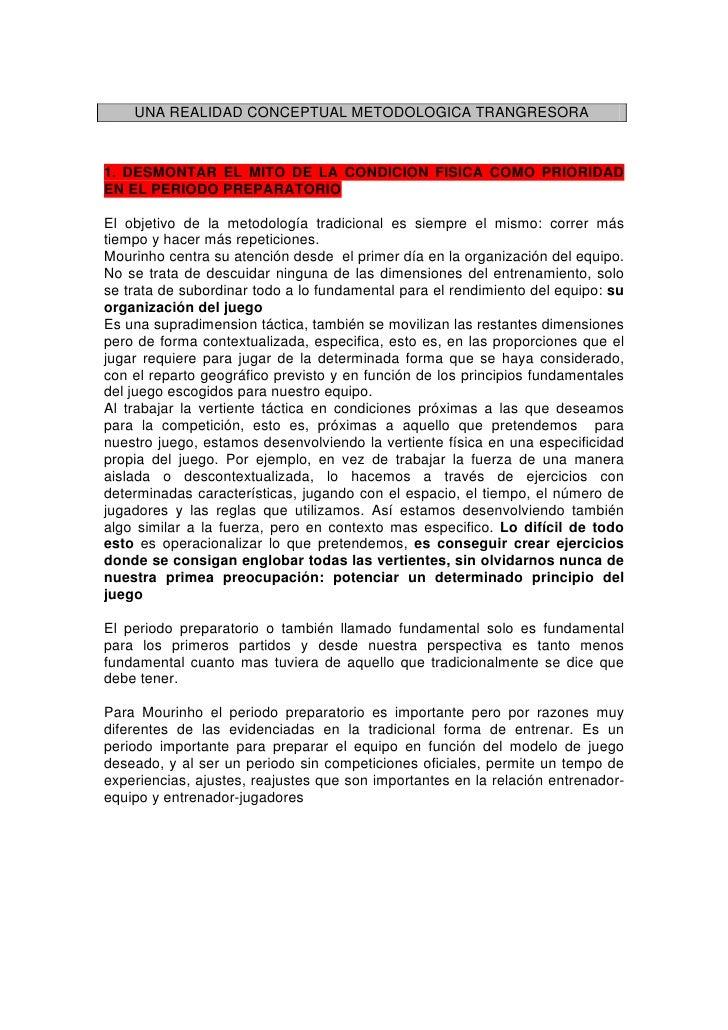 UNA REALIDAD CONCEPTUAL METODOLOGICA TRANGRESORA    1. DESMONTAR EL MITO DE LA CONDICION FISICA COMO PRIORIDAD EN EL PERIO...