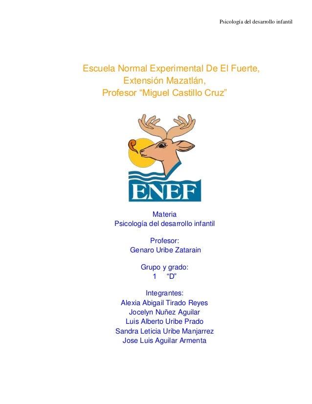 """Psicología del desarrollo infantilEscuela Normal Experimental De El Fuerte,         Extensión Mazatlán,    Profesor """"Migue..."""