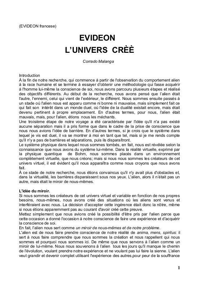 (EVIDEON francese) EVIDEON L'UNIVERS CRÈÈ Corrado Malanga Introduction À la fin de notre recherche, qui commence à partir ...