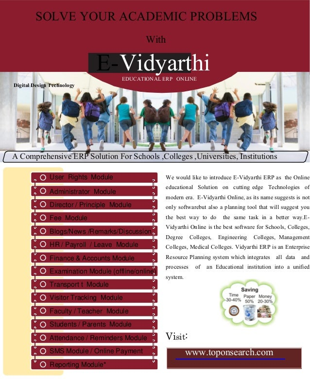 SOLVE YOUR ACADEMIC PROBLEMS With E-VidyarthiEDUCATIONAL ERP ONLINE Digital Design Technology A Comprehensive ERP Solution...