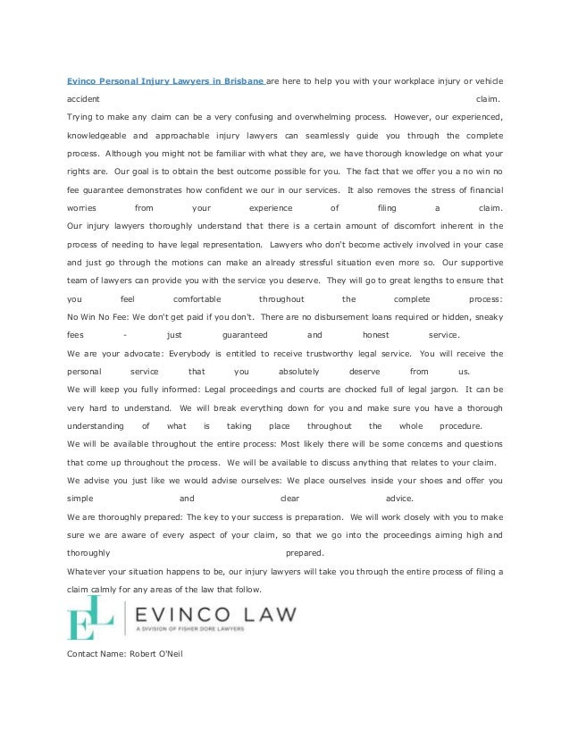 Evinco law personal injury lawyers brisbane