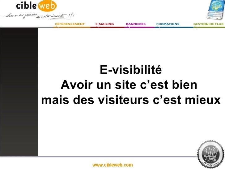 E-visibilité   Avoir un site c'est bienmais des visiteurs c'est mieux