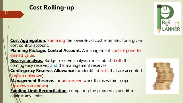 12 Cost Aggregation. Summing the lower-level cost estimates for a given cost control account. Planning Package. Control Ac...