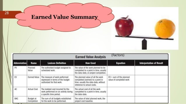 28 (Factors) Earned Value Summary