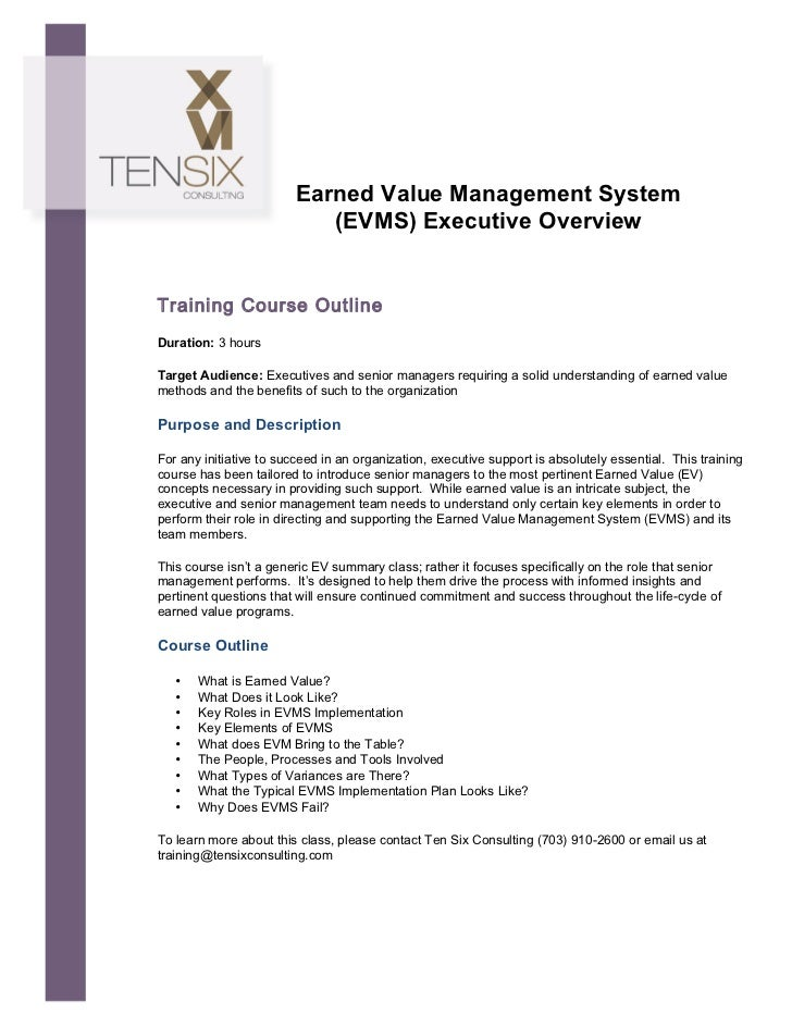 Earned Value Management System                                   (EVMS) Executive Overvie...