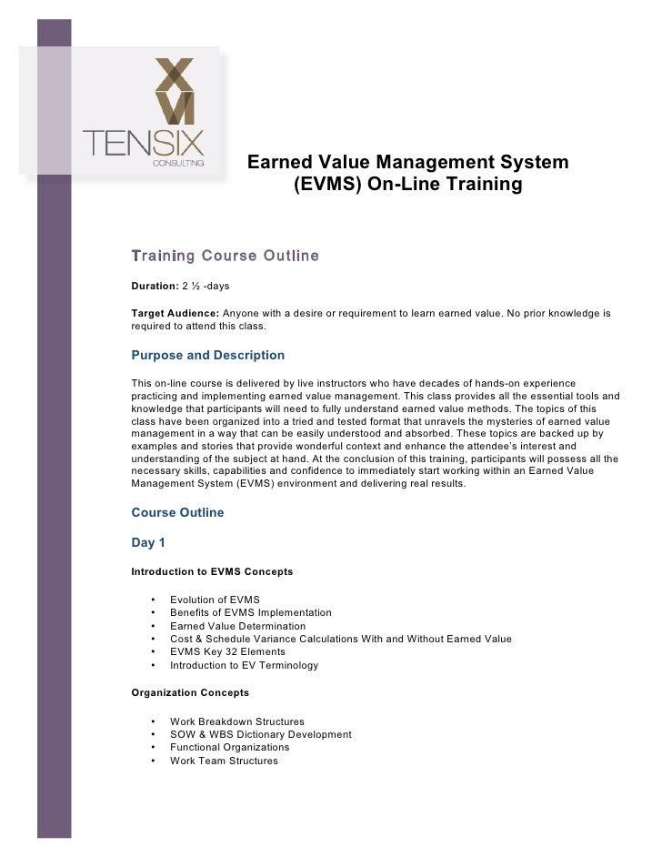 Earned Value Management System                                    (EVMS) On-Line Training...