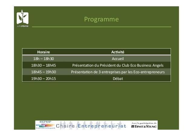 Programme Horaire AcKvité 18h–18h30 Accueil 18h30–18h45 Présenta@onduPrésidentduClubEcoBusinessAngels 18...