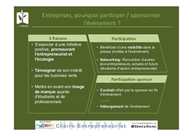 Entreprises,pourquoipar@ciper/sponsoriser l'événement? ParKcipaKon ParKcipaKonsponsor • Bénéficier d'une visi...