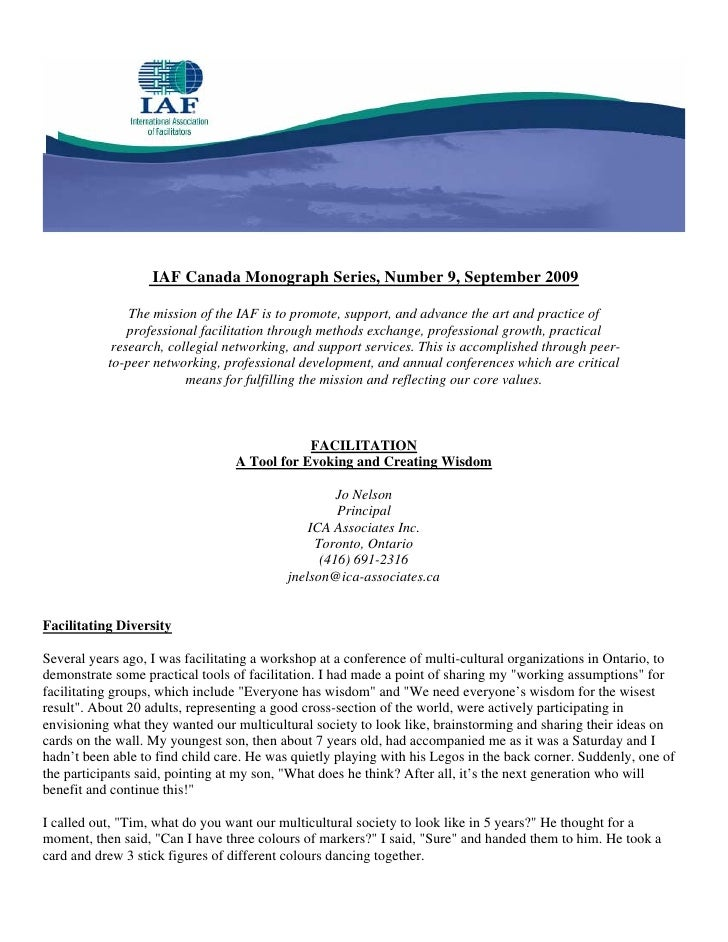IAF Canada Monograph Series, Number 9, September 2009                 The mission of the IAF is to promote, support, and a...
