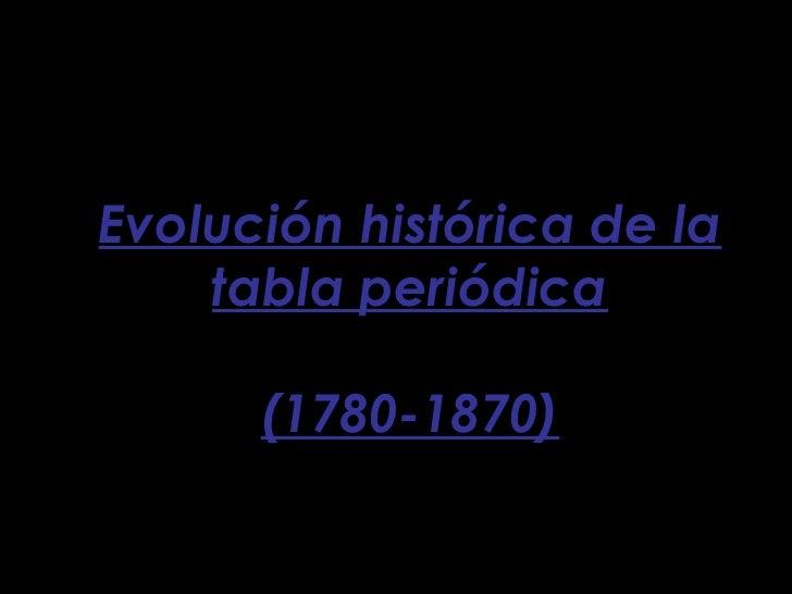 Evolución histórica de la tabla periódica (1780-1870)