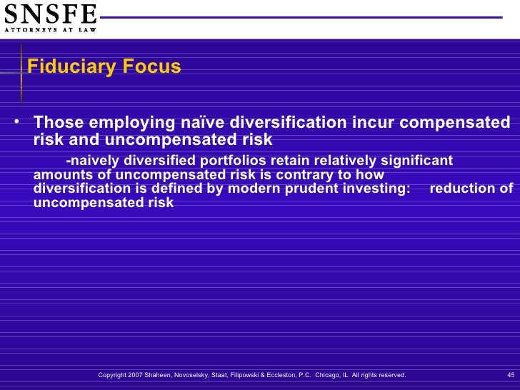naïve diversification Naïve diversification, where securities are selected on a random basis only reduces the risk of a portfolio to a limited extent.