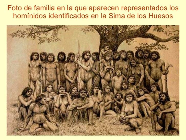 Foto de familia en la que aparecen representados los homínidos identificados en la Sima de los Huesos