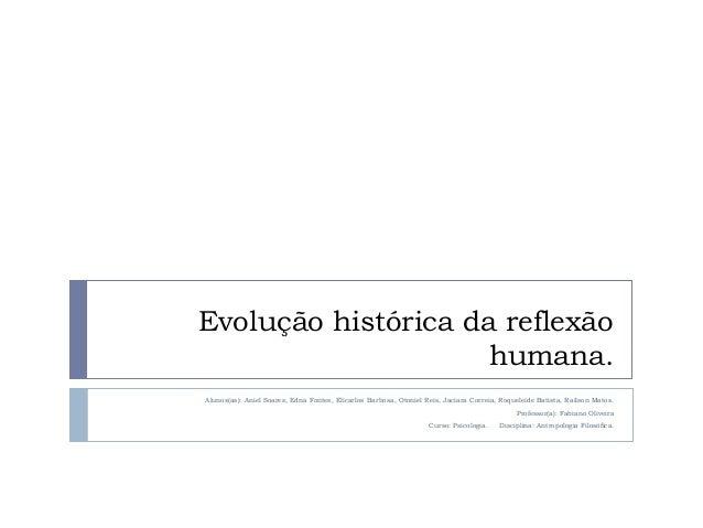 Evolução histórica da reflexão humana. Alunos(as): Aniel Soares, Edna Fontes, Elicarlos Barbosa, Otoniel Reis, Jaciara Cor...