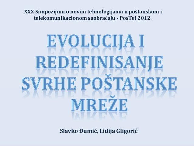 XXX Simpozijum o novim tehnologijama u poštanskom i   telekomunikacionom saobraćaju - PosTel 2012.             Slavko Đumi...