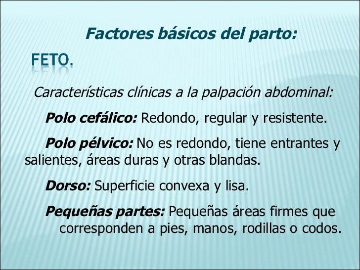 Características clínicas a la palpación abdominal: Polo cefálico:  Redondo, regular y resistente. Polo pélvico:  No es red...