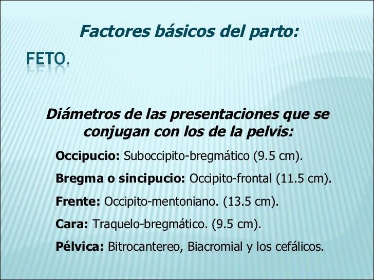 Diámetros de las presentaciones que se    conjugan con los de la pelvis: Occipucio:  Suboccipito-bregmático (9.5 cm). Breg...