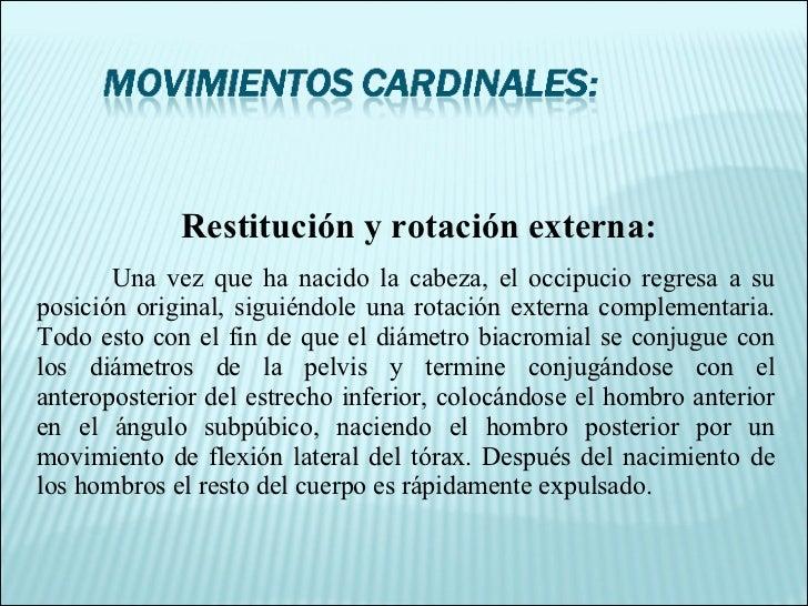 Restitución y rotación externa: Una vez que ha nacido la cabeza, el occipucio regresa a su posición original, siguiéndole ...
