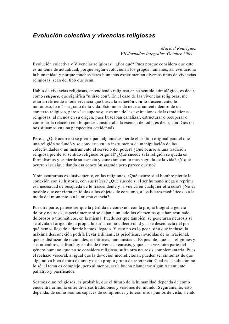 Evolución colectiva y vivencias religiosas                                                                      Maribel Ro...