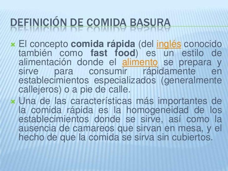 Evoluci n de la comida basura for Definicion de gastronomia