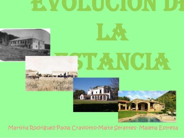 Evolución de            la         estanciaMartina Rodriguez-Paola Craviotto-Maite Serantes- Malena Estrella