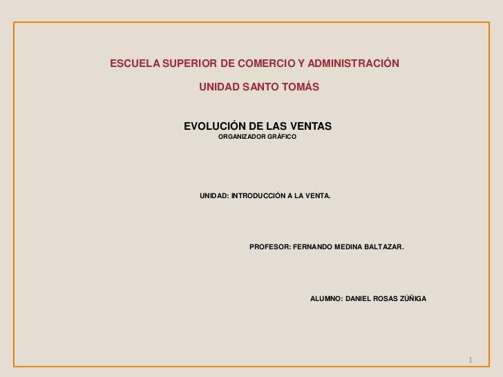ESCUELA SUPERIOR DE COMERCIO Y ADMINISTRACIÓN<br />UNIDAD SANTO TOMÁS<br />EVOLUCIÓN DE LAS VENTAS<br />ORGANIZADOR GRÁFIC...