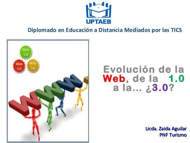 Diplomado en Educación a Distancia Mediados por las TICS Evolución de la Web, de la 1.0 a la…¿3.0? Licda. Zaida AguilarLi...