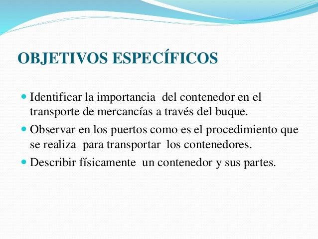 Objetivo especifico de los medios de transporte