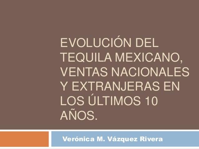 EVOLUCIÓN DELTEQUILA MEXICANO,VENTAS NACIONALESY EXTRANJERAS ENLOS ÚLTIMOS 10AÑOS.Verónica M. Vázquez Rivera