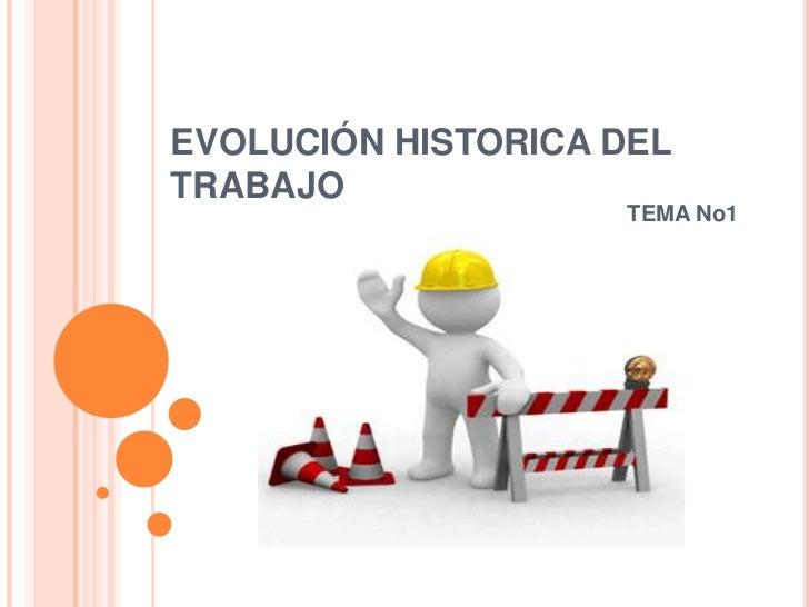 EVOLUCIÓN HISTORICA DELTRABAJO                    TEMA No1