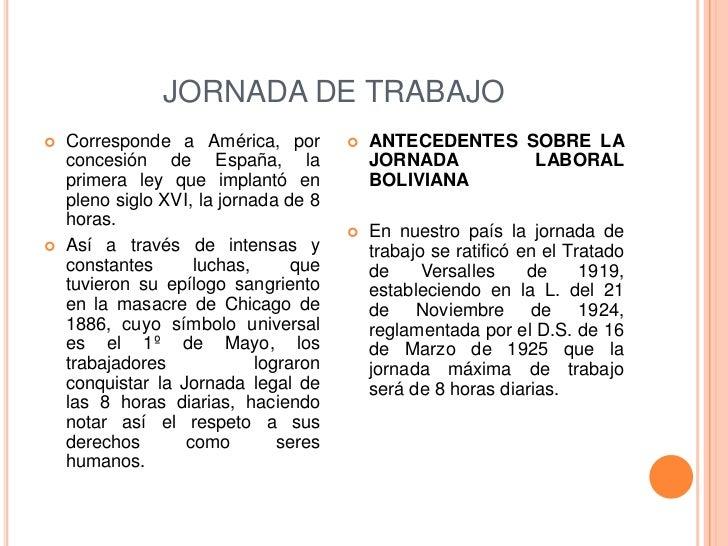 JORNADA DE TRABAJO   Corresponde a América, por             ANTECEDENTES SOBRE LA    concesión de España, la            ...