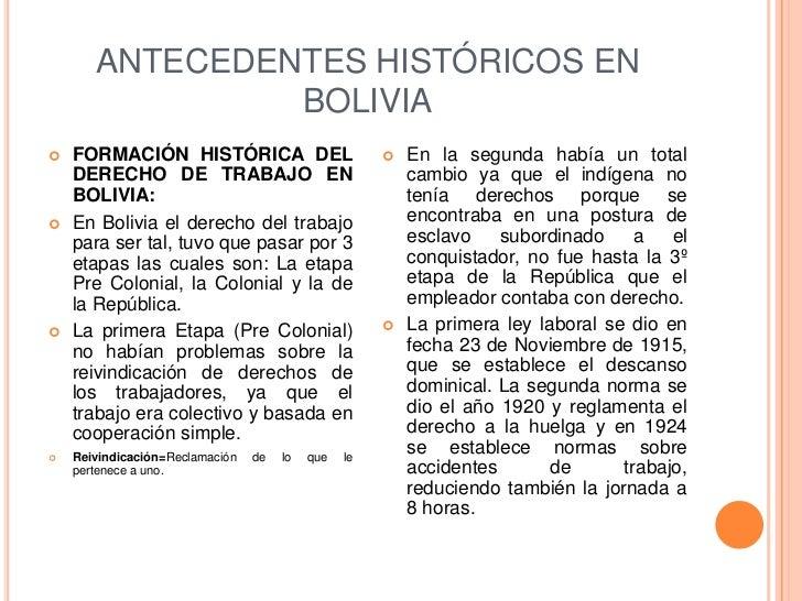 ANTECEDENTES HISTÓRICOS EN                BOLIVIA   FORMACIÓN HISTÓRICA DEL                              En la segunda h...