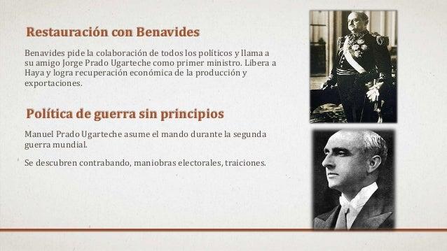 Restauración con Benavides Benavides pide la colaboración de todos los políticos y llama a su amigo Jorge Prado Ugarteche ...