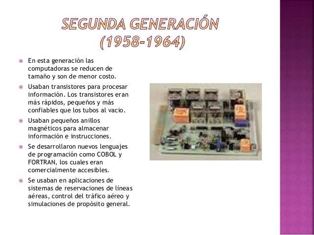  La tercera generación de computadoras emergió con el desarrollo de circuitos integrados (pastillas de silicio)  Se desa...