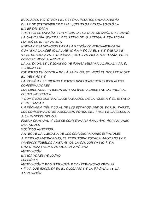 EVOLUCIÓN HISTÓRICA DEL SISTEMA POLÍTICO SALVADOREÑO  EL 15 DE SEPTIEMBRE DE 1821, CENTROAMÉRICA LOGRÓ LA  INDEPENDENCIA  ...