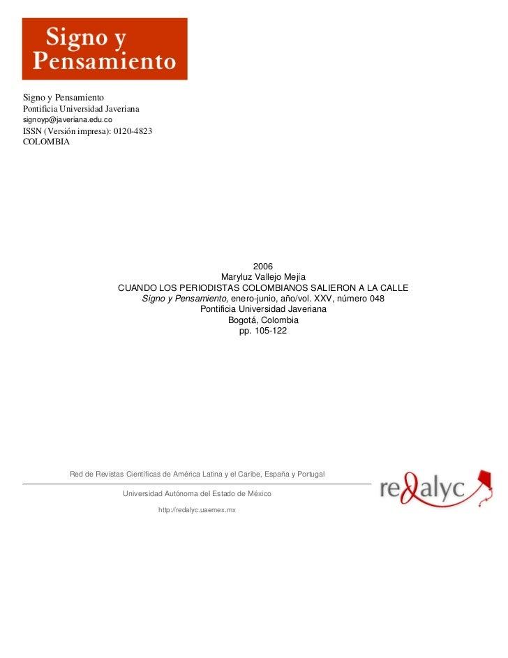 Signo y PensamientoPontificia Universidad Javerianasignoyp@javeriana.edu.coISSN (Versión impresa): 0120-4823COLOMBIA      ...