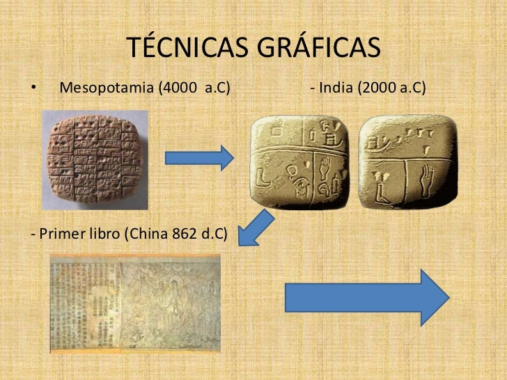 TÉCNICAS GRÁFICAS•   Mesopotamia (4000 a.C)       - India (2000 a.C)- Primer libro (China 862 d.C)