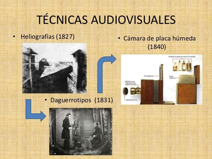 TÉCNICAS AUDIOVISUALES• Heliografías (1827)              • Cámara de placa húmeda                                         ...
