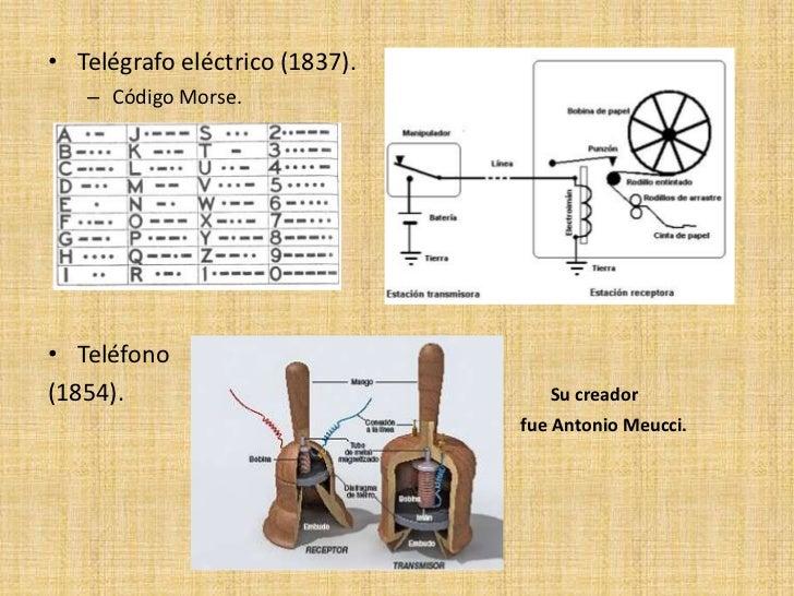 • Telégrafo eléctrico (1837).   – Código Morse.• Teléfono(1854).                            Su creador                    ...