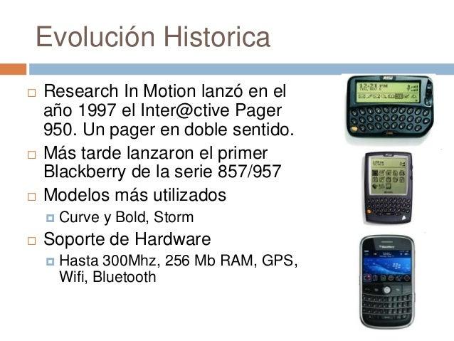 Evolución Historica Research In Motion lanzó en elaño 1997 el Inter@ctive Pager950. Un pager en doble sentido. Más tarde...