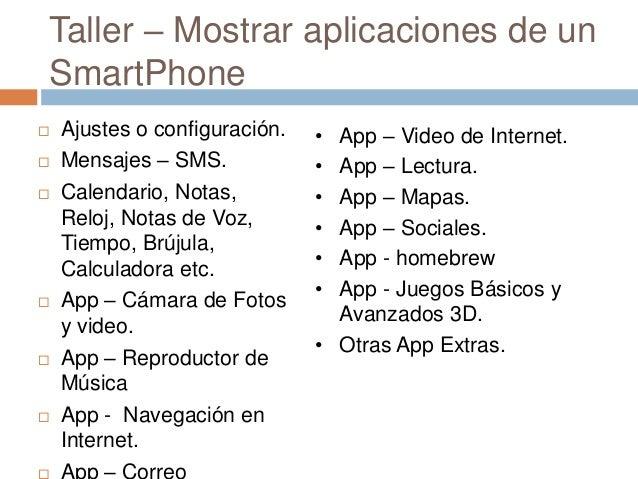 Taller – Mostrar aplicaciones de unSmartPhone Ajustes o configuración. Mensajes – SMS. Calendario, Notas,Reloj, Notas d...