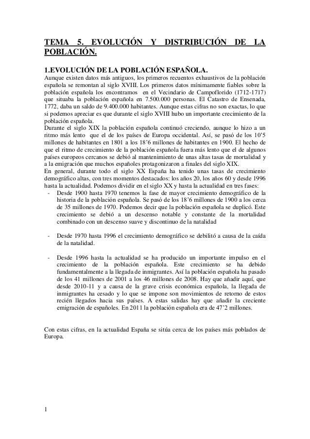 1 TEMA 5. EVOLUCIÓN Y DISTRIBUCIÓN DE LA POBLACIÓN. 1.EVOLUCIÓN DE LA POBLACIÓN ESPAÑOLA. Aunque existen datos más antiguo...
